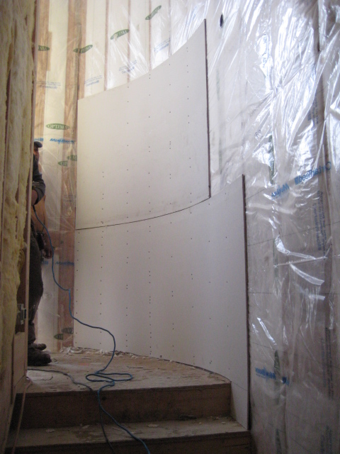 Drywall Hanging for Curved Hallway